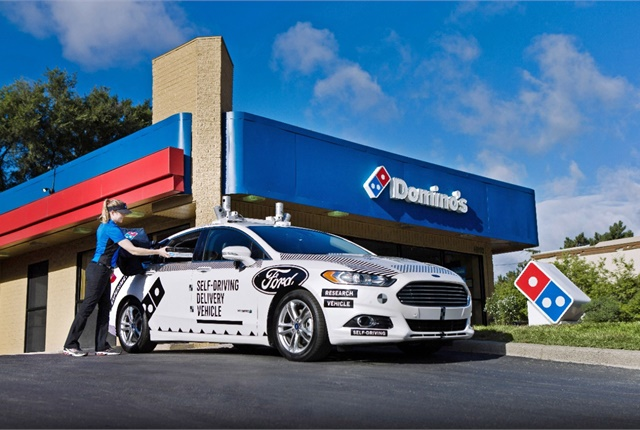 Randomly selected Domino's customers in Ann Arbor, Mich., will have the opportunity to receive their pizza order from a Ford Fusion Hybrid autonomous research vehicle. Photo courtesy of Ford.