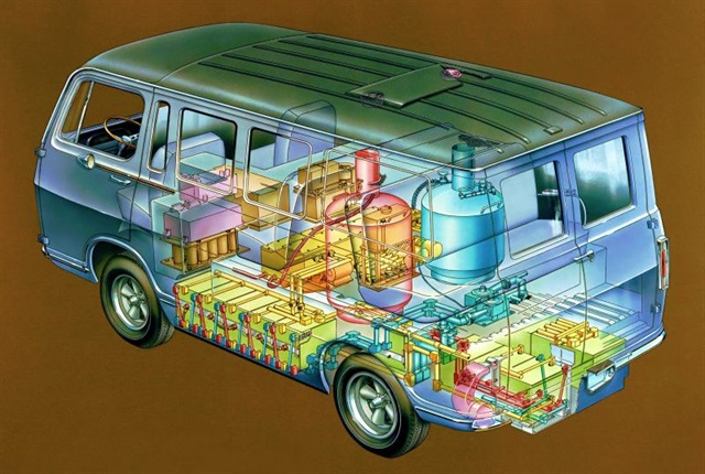 Graphic of the Electrovan, the first hydrogen-powered vehicle, courtesy of General Motors.