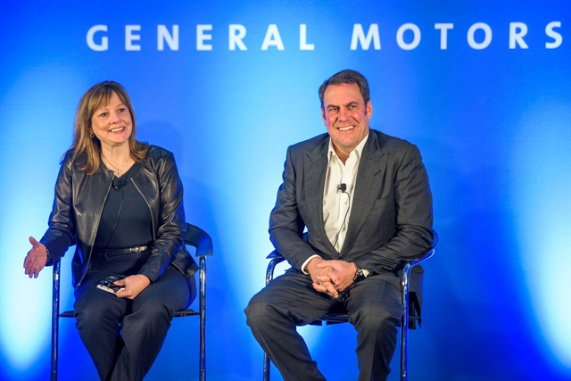 General Motors CEO Mary Barra and GM Executive Vice President of Global Product Development, Global Purchasing and Supply Chain Mark Reuss talk with media Thursday, Oct. 1. Photo courtesy of GM.
