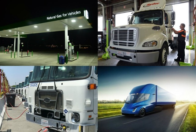 (clockwise l. to r.) Natural gas fueling station, Ryder semi-truck, Tesla's electric truck, City of Long Beach CNG trucks.