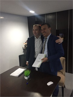 In January, Green Motion opened its 27th master country franchise in Morocco with Hire Automotive Group (HAG). CEO Richard Lowden, left, stands with franchisee Tarik Dbiliji.