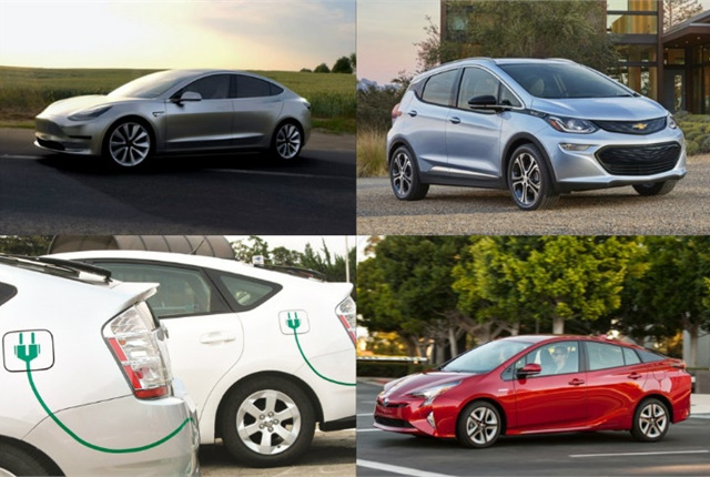 (clockwise l. to r.) Tesla Model 3, 2017 Chevrolet Bolt EV, 2016 Toyota Prius, and plug-in hybrid electric vehicles