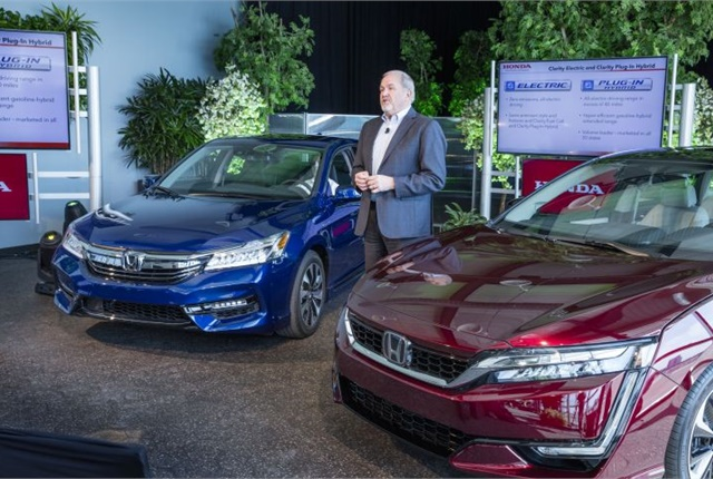 Honda's John Mendel, executive vice president, announces the 2017 Accord Hybrid and Clarity series of electrified vehicles. Photo courtesy of Honda.