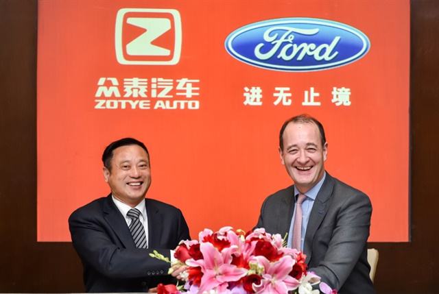 Photo of Peter Fleet (right), Ford's group vice president and president of Ford Asia Pacific, and Ying Jianren, chairman of Tech-New Group Ltd. and board director of Zotye Auto courtesy of Ford.