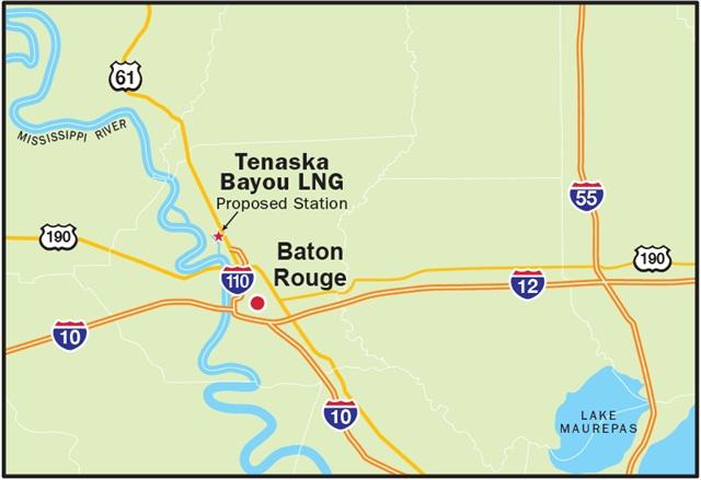 Proposed Location of Tenaska Bayou LNG: Graphic via Tenaska.