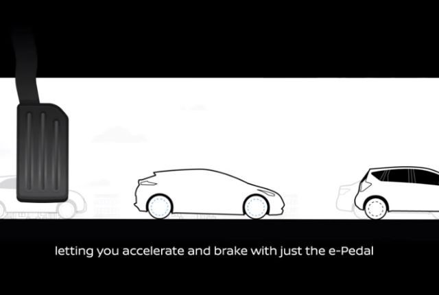 Screenshot of e-Pedal technology via Nissan.
