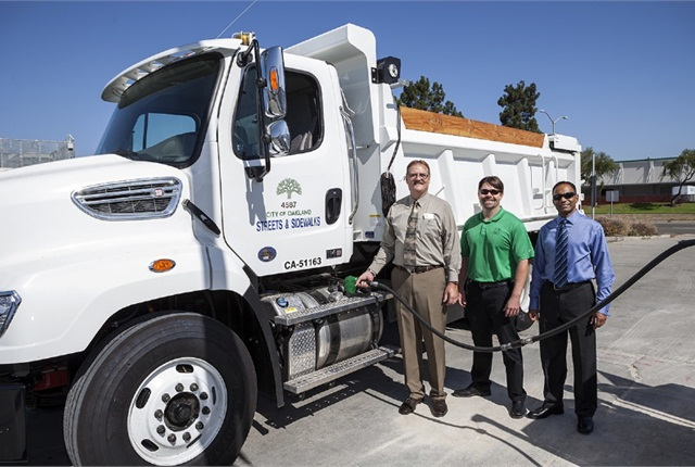On Oct. 5, the City of Oakland filled its first truck with renewable diesel. Pictured from left are: Richard Battersby, equipment services manager, City of Oakland; Pat O'Keefe, president/CEO of Nexgen Fuels; and Neville Fernandes, general manager, Neste USA. Photo courtesy of PRNewsFoto/Golden Gate Petroleum