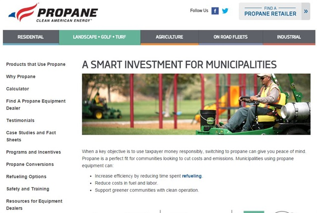 Screencapture of www.propane.com/municipality