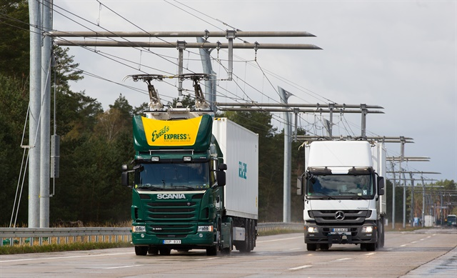 Overhead lines, like these in Siemens' Swedish demo eHighway, will provide power for trucks. Photo: Siemens