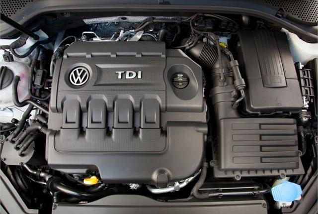 Photo of 2015 Golf TDI engine courtesy of Volkswagen.