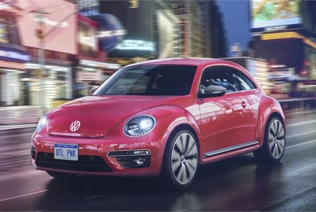 Photo of pink 2017 Beetle courtesy of Volkswagen.