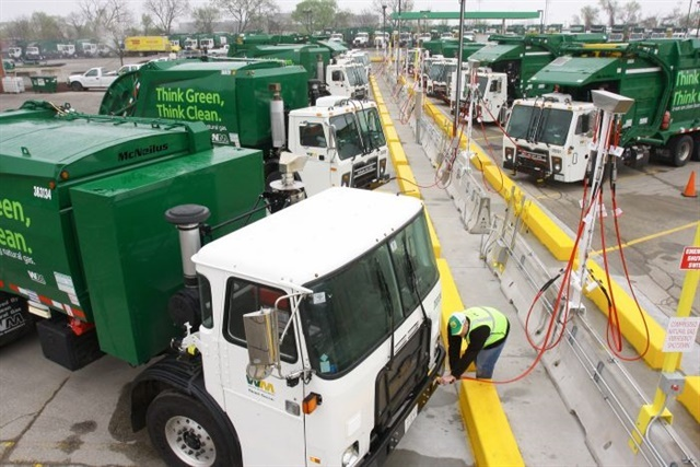 Refuse fleets were the most dominant market for natural gas Class 8 trucks this year. Photo: Waste Management