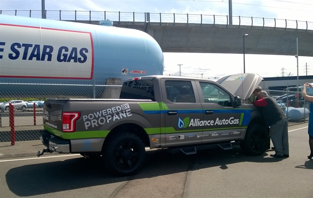The propane-autogas-powered pickup has so far traveled from Kansas, made stops in Colorado and Utah, and now sits briefly in Seattle. (PHOTO: Joanne Tucker)