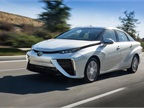 The 2016 Toyota Mirai fuel cell sedan is due to hit U.S. roads in the fall. Photo courtesy of Toyota.