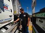 A biodiesel truck in Denver's fleet fuels up