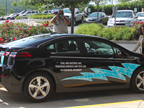 The Chevy Volt is distinctively marked with sporting blue flames, which have become synonymous with natural gas. Steve Winberg, vice president of research and development said the Chevrolet Vo
