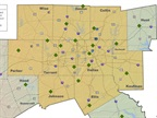 Fleets in the yellow-colored counties can apply for grant funding. Map courtesy of North Central Texas Council of Governments