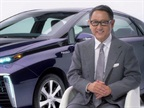 President and CEO Akio Toyoda announces the name of the new hyrdogen fuel-cell vehicle.