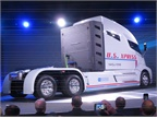 A wrap was removed and the Nikola One prototype revolved before the enthusiastic audience at the Dec. 1 unveiling. Liquified hydrogen is stored in bottles behind the long sleeper-cab. Photos: Tom Berg