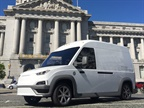 The Workhorse N-GEN electric delivery van is pictured in front of San Francisco City Hall. Photo by Thi Dao