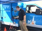 Patrick Kaufman, lead systems engineer for EDI, demonstrates the exportable power capacity on the EDI/PG&E Class-5 utility work truck. (Photo: PG&E)
