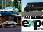 (Clockwise from l. to r.) Volkswagen's 2015 Golf TDI clean-diesel compact car; UPS alternative fuel and technology truck fleet; Tesla Model S; Fleet Technology Expo replaces Green Fleet Conference