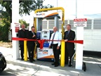 County officials get ready to cut the ribbon for the new CNG fueling station. Photo courtesy of Santa Clara County