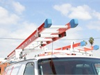 A ladder rack from Prime Design allows technicians to access their