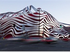The Petersen Automotive Museum's exterior was inspired by iconic motion-blur photos of traffic in Los Angeles freeways. Photo courtesy of Petersen Automotive Museum.