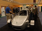 Elio showed off its three-wheel fuel-efficient car. The two-seater