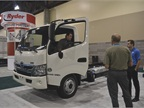 The 2013 Hino 195H has a 5L diesel-electric hybrid system and runs on