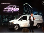 Bernie Glazer, vice president and managing director Mercedes-Benz Vans, shows the Metris mid-size van.