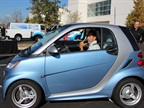 Mercedes had its Smart fortwo electric available for people to drive.