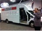 John Forbes, president of Utilimaster, unveils the Velocity step van.