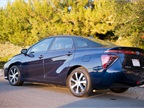 The Mirai can travel 312 miles on a single fill of hydrogen.